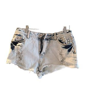 High-waisted distressed acid wash jeans, size 7